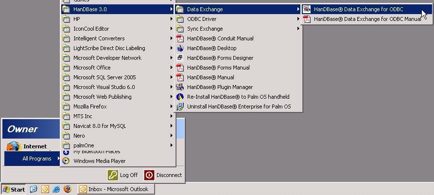 Handbase data exchange for odbc downloadable software